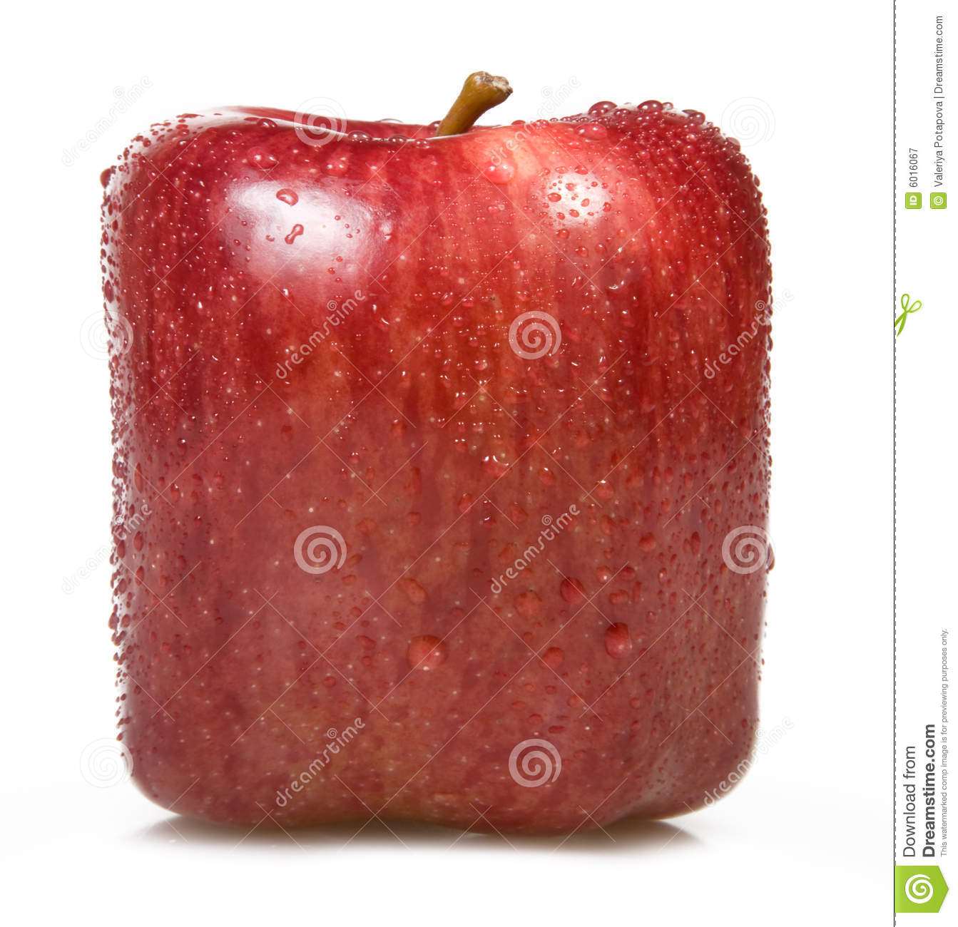 Square Apple On A White Background. Stock Image - Image ...