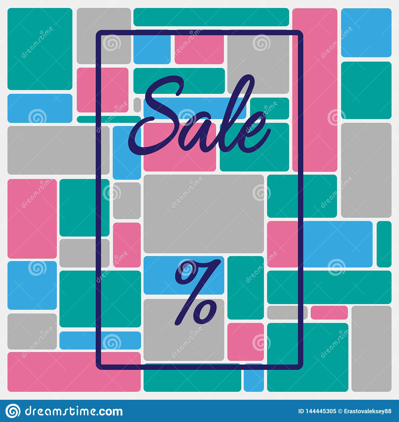 Square background with frame, text Sale and percent sign. Template for advertising. Vector illustration.