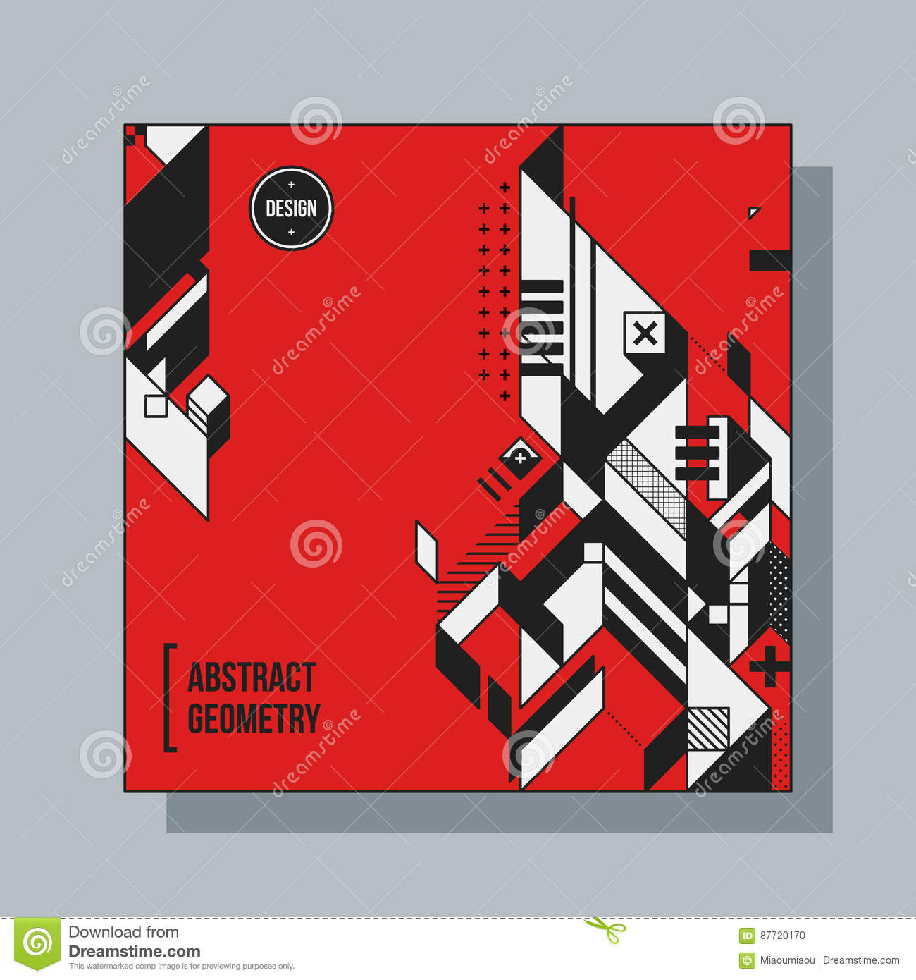 Square Background Template With Abstract Elements Vector ...