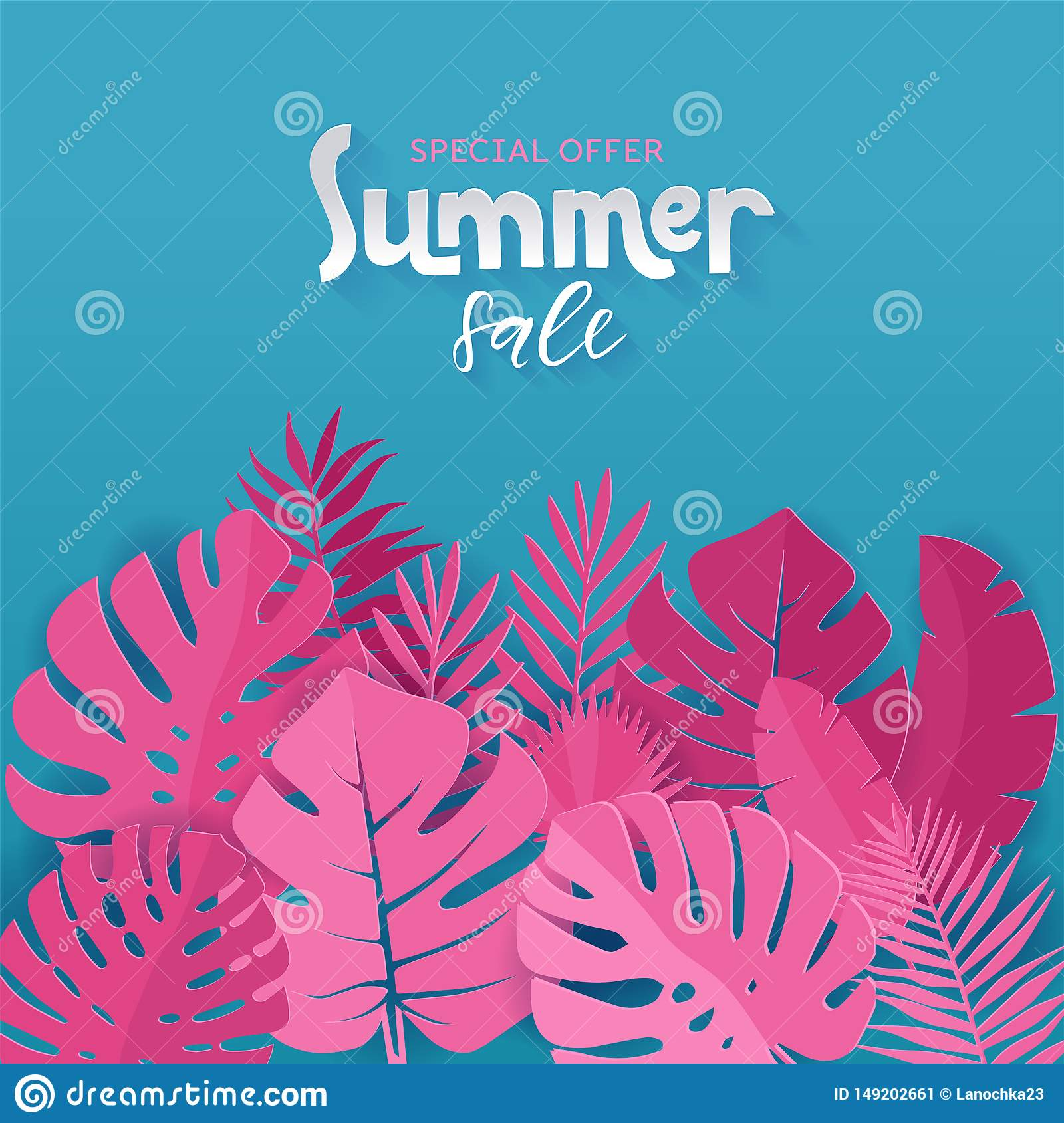 Square banner of Special offer Summer sale with pink palm, monstera, banana leaves on blue background with hand lettering. Paper