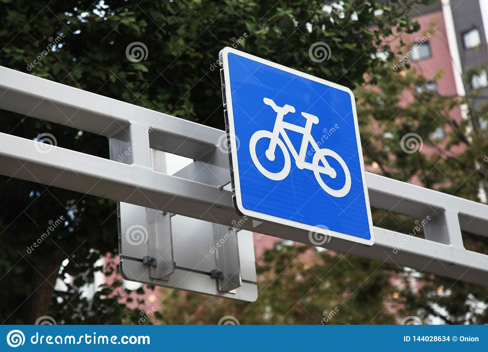 Bicycle path sign in blue found in Japan