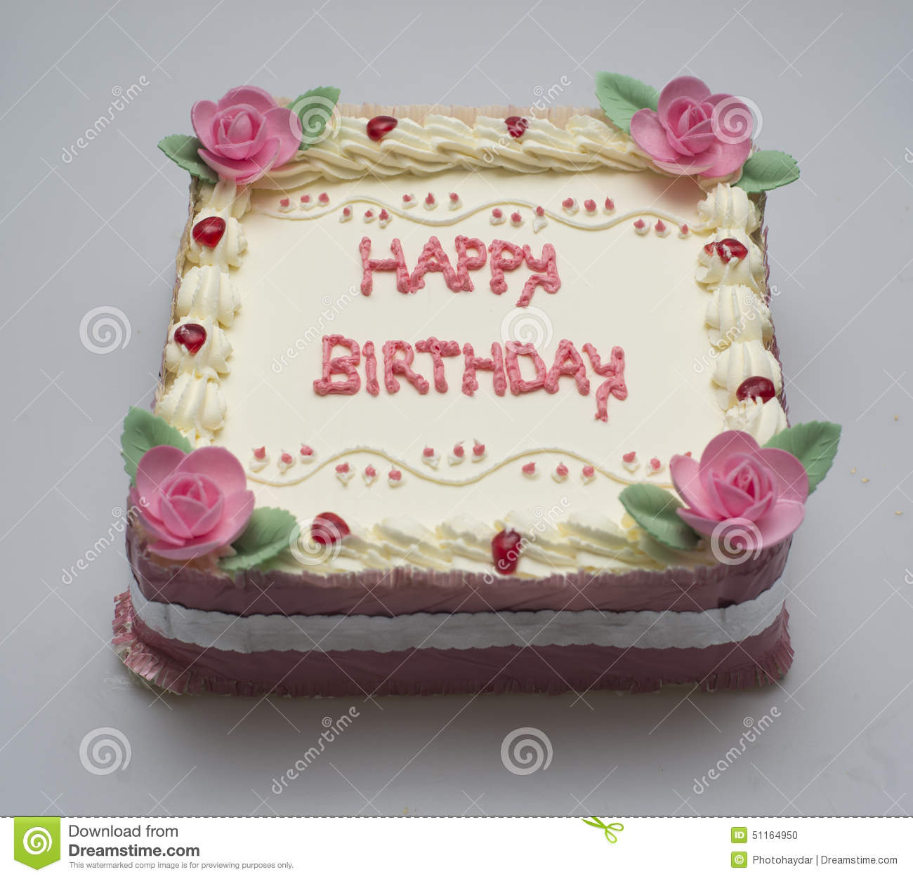 Square Birthday Cake For Girl Stock Photo Image Of Frosting Event