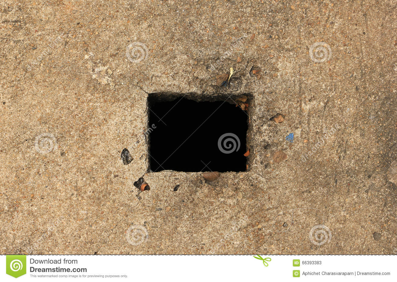 Square Black Hole On Floor Stock Photo Image 66393383