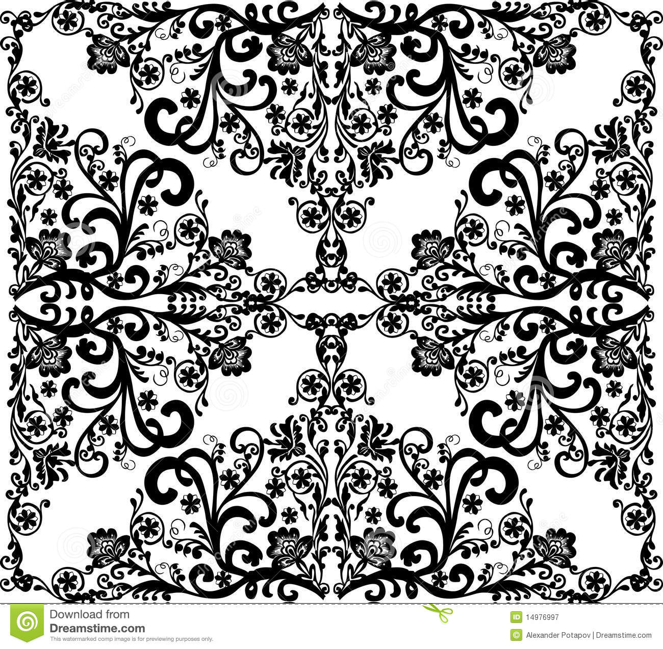 Square Black On White Floral Design Royalty Free Stock
