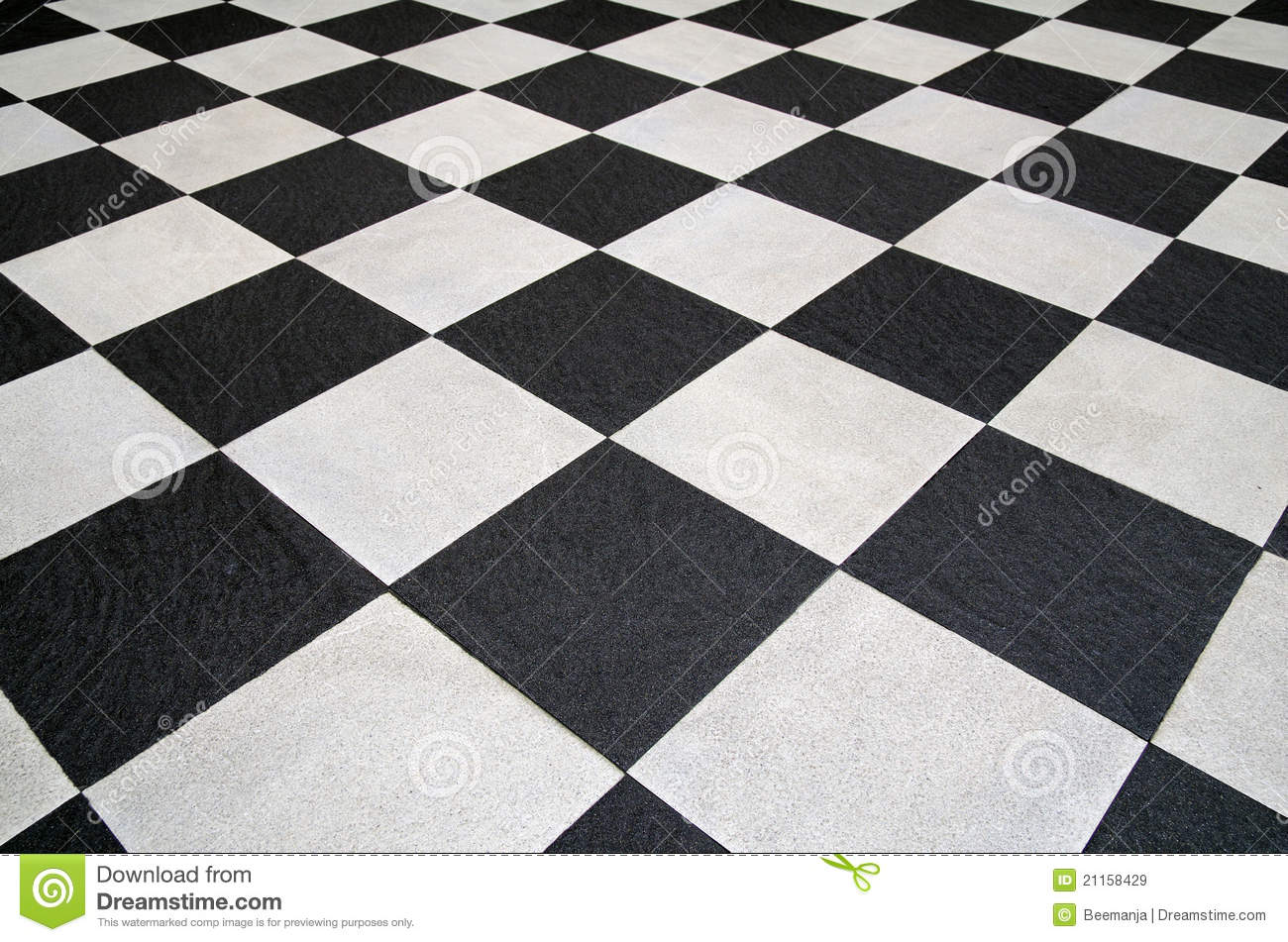Square Black And White Tiles Floor Royalty Free Stock