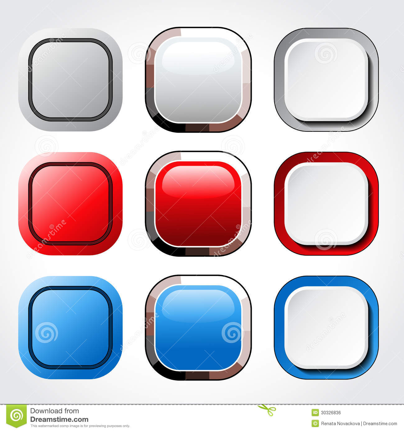 Square blank glossy buttons