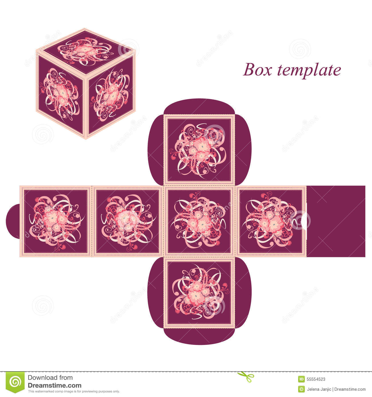 Square Box Template With Lid Floral Elements And