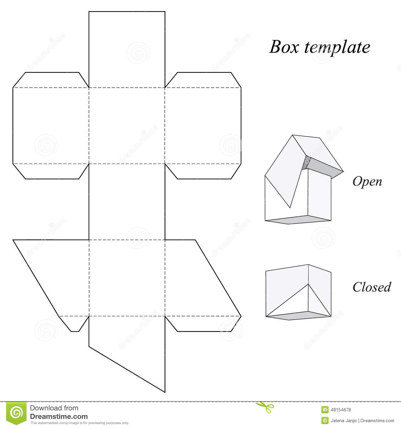 Square box template with lid stock vector image 48154678 for Box templates vector