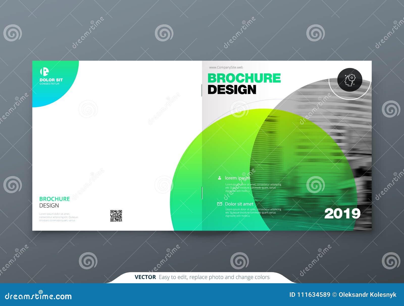 Square Brochure Design Green Corporate Business Rectangle Template Report Catalog Magazine