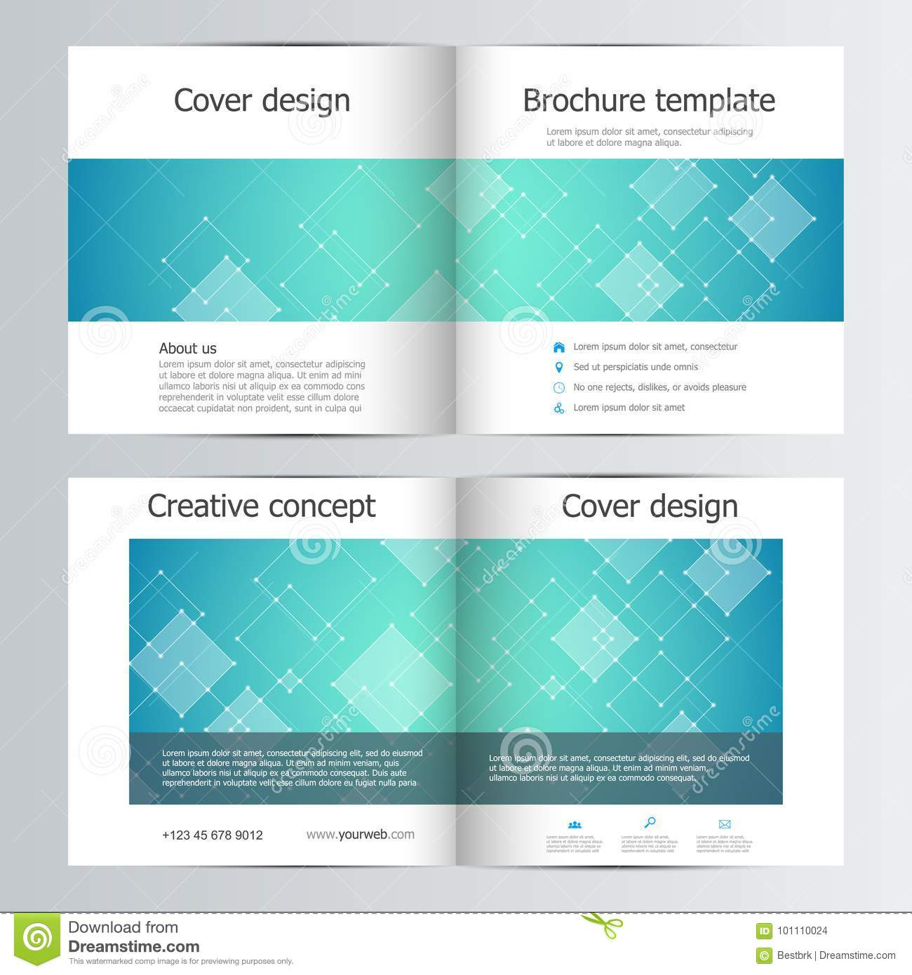 Square Brochure Template With Polygonal Abstract Background Stock