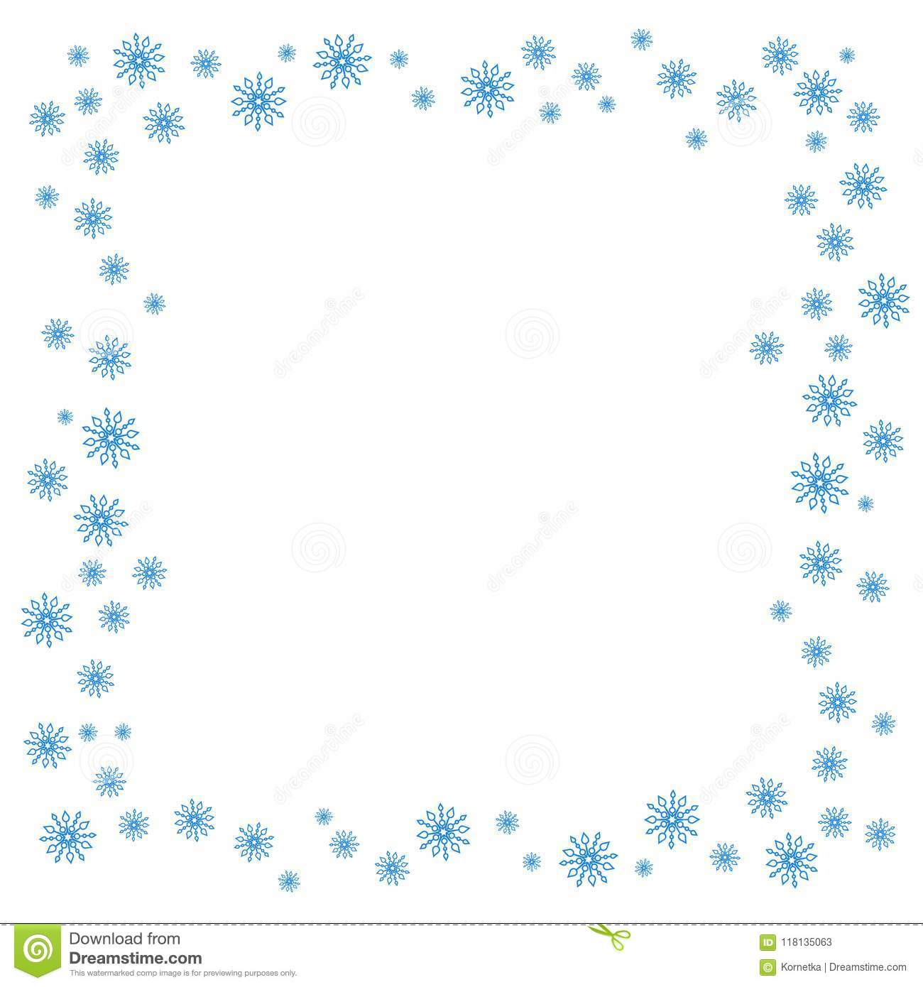 Square Christmas border or frame with random scatter falling snowflakes