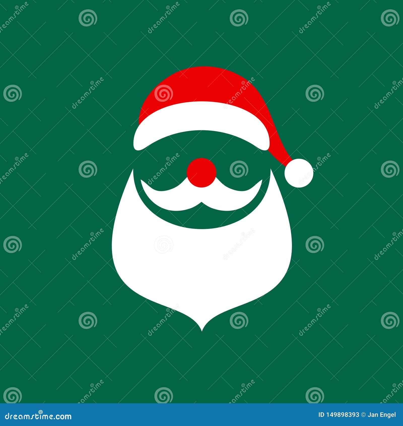 Square Christmas Card Abstract Graphic Santa Green