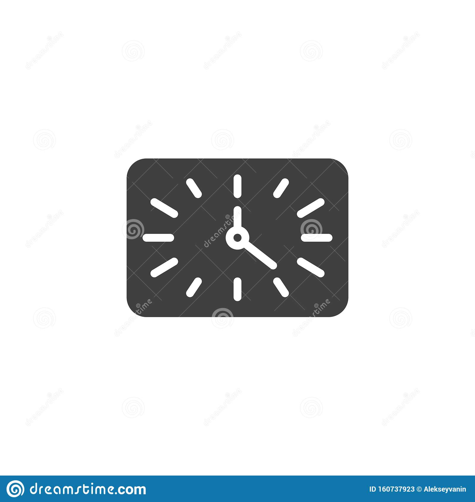 Square clock time vector icon.