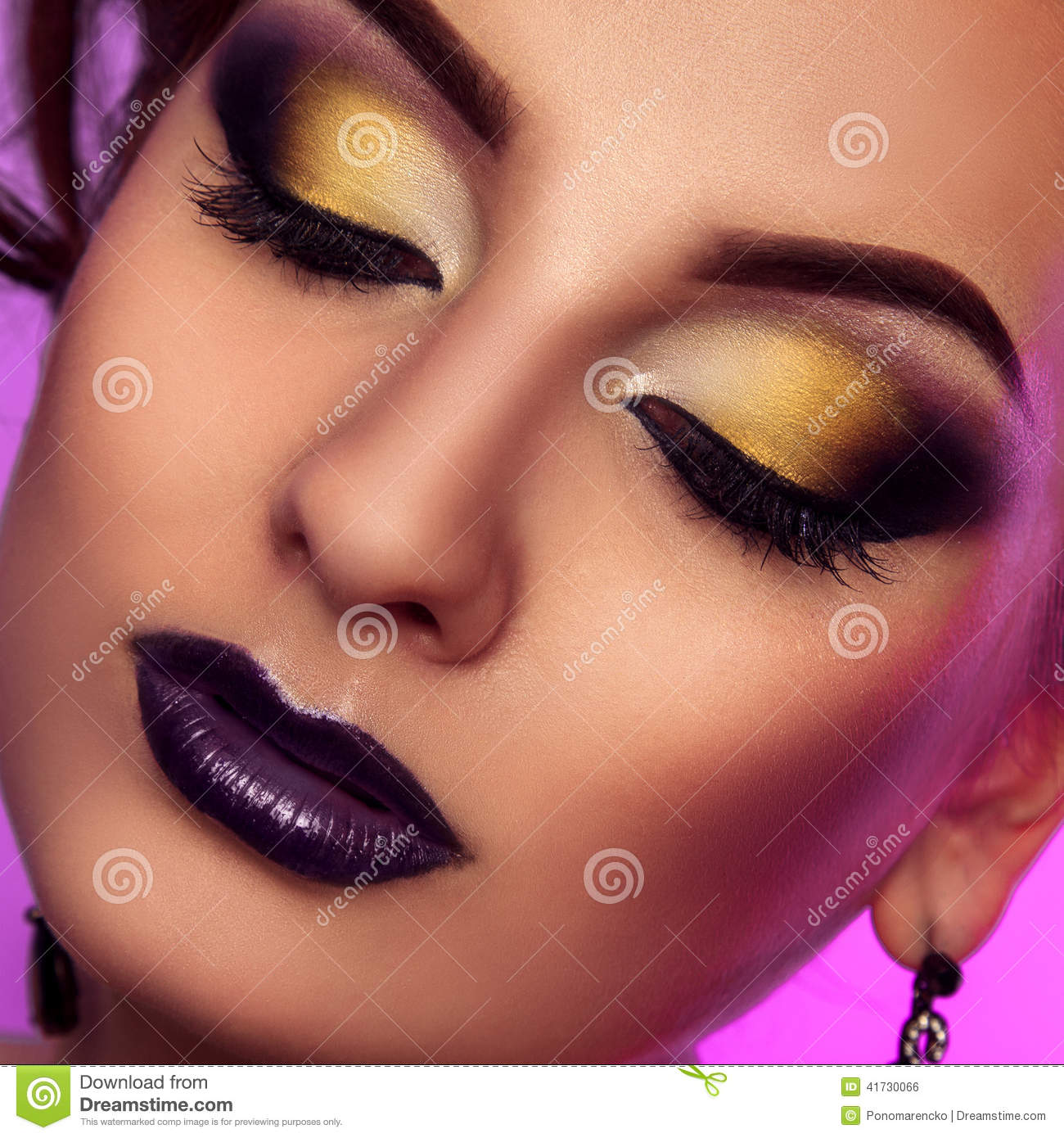 Square Close Up Color Photo Of Woman With Make Up Stock