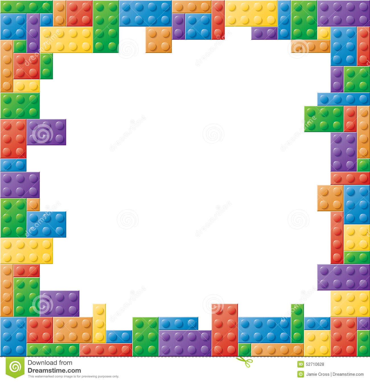 Square Colored Block Picture Frame Stock Vector