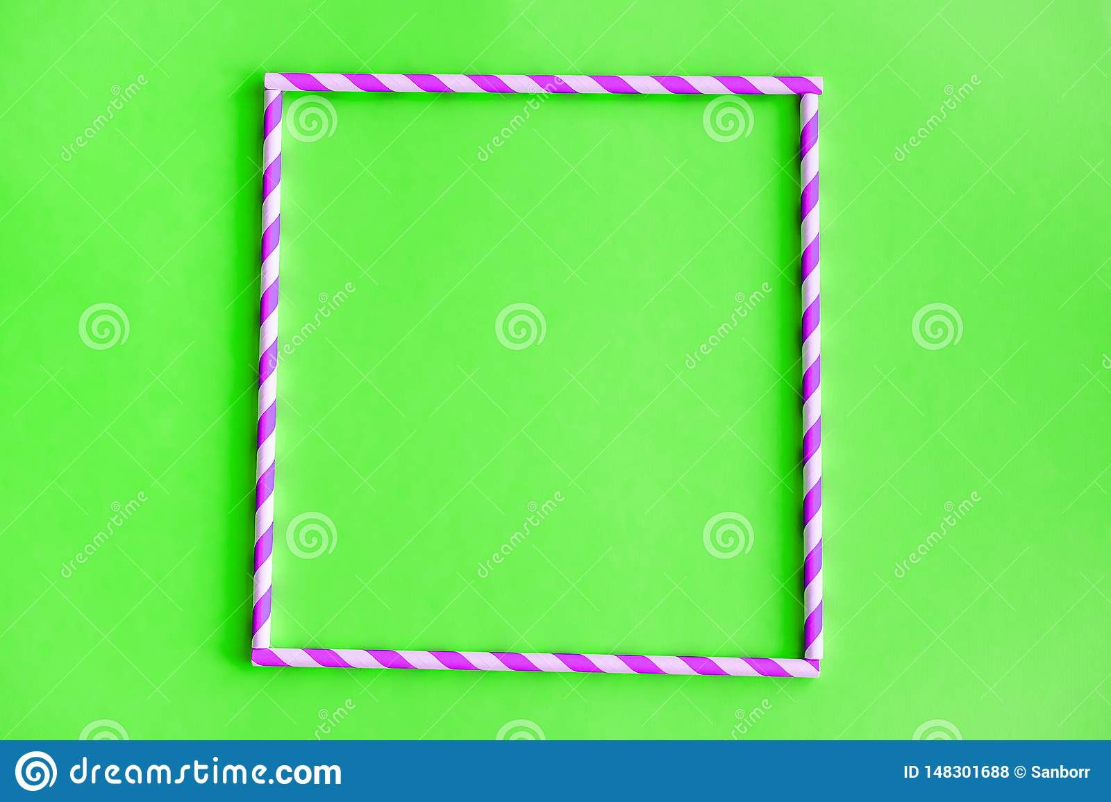 Square Of Colored, Reusable, Paper, Striped, Pink Straws For