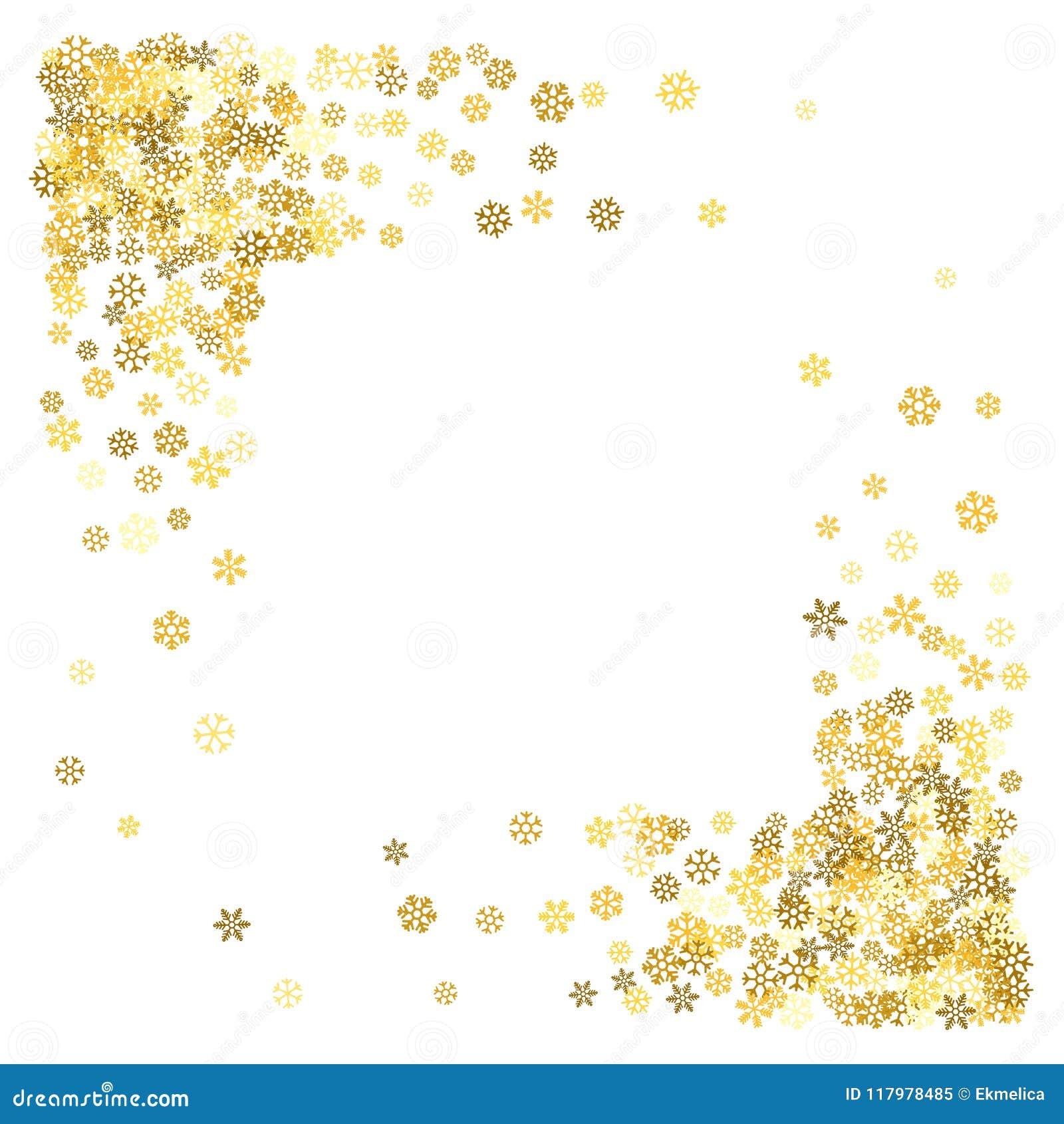fed0b69df94 Square corner gold frame or border of scatter golden snowflakes on white  background. Design element for festive banner