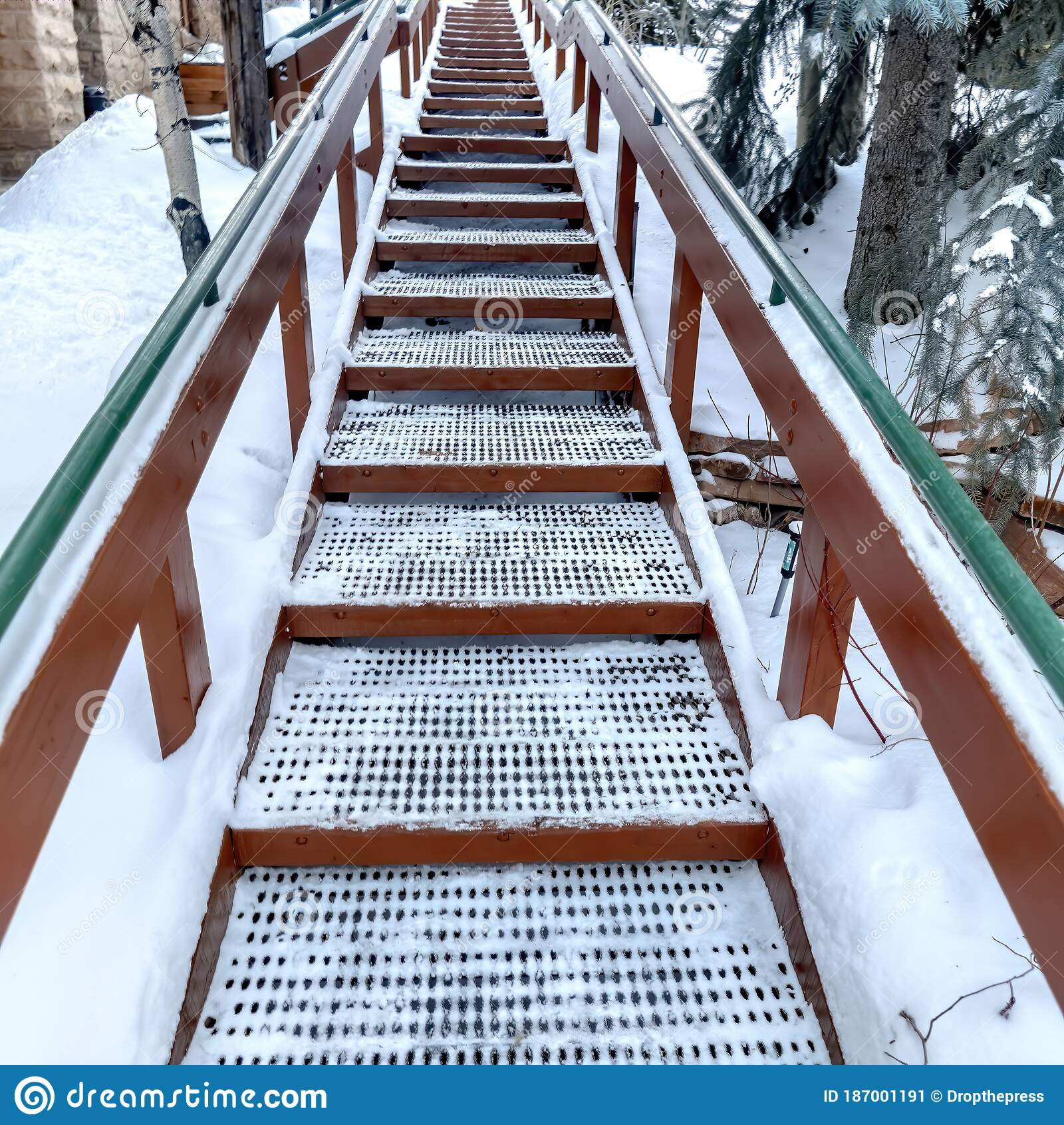 Image of: Square Crop Focus On Stairs With Grate Treads And Metal Handrails Against Snow Covered Hill Stock Image Image Of Cold Snowy 187001191