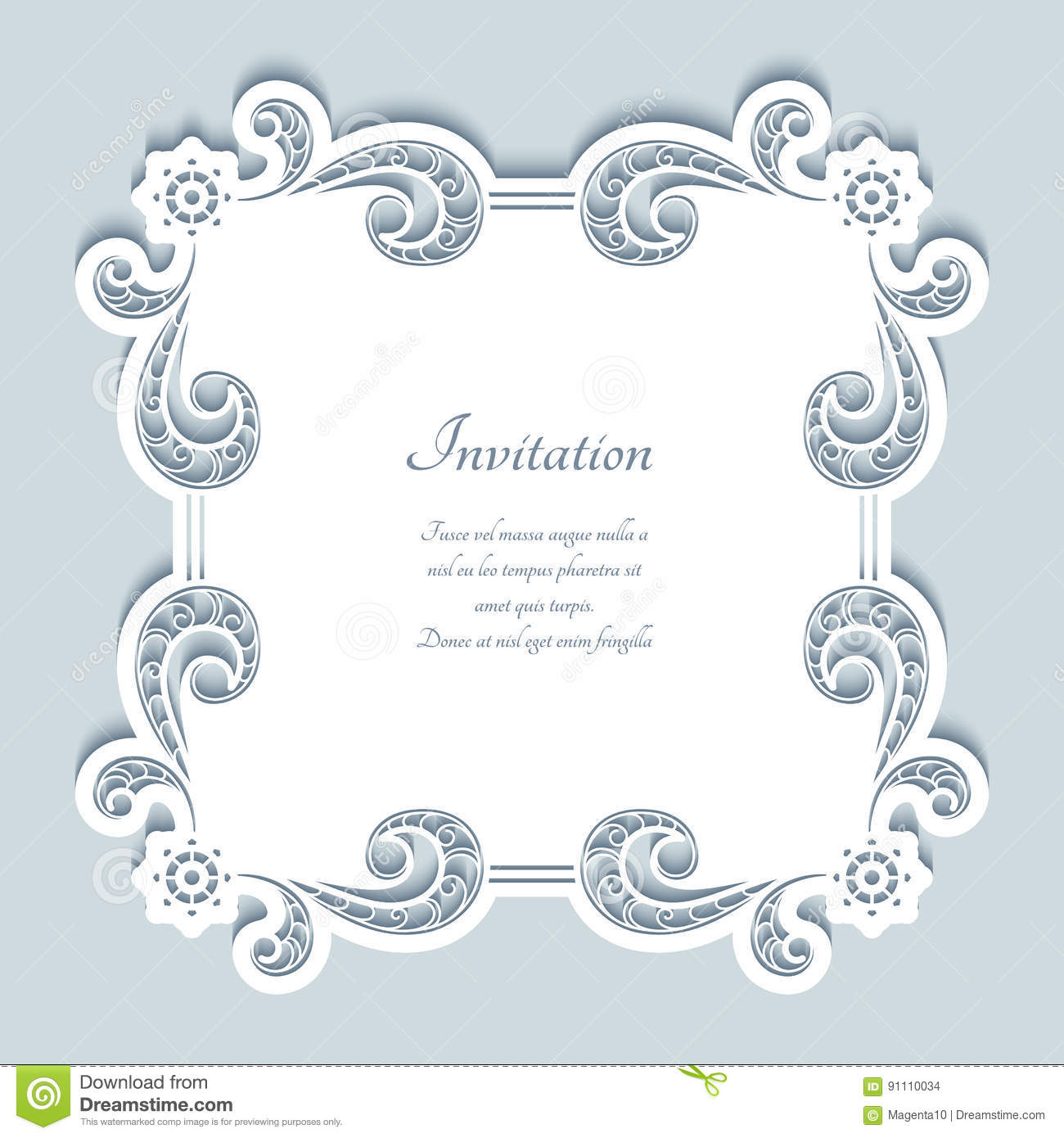 Square Cutout Paper Lace Frame Stock Vector Illustration Of