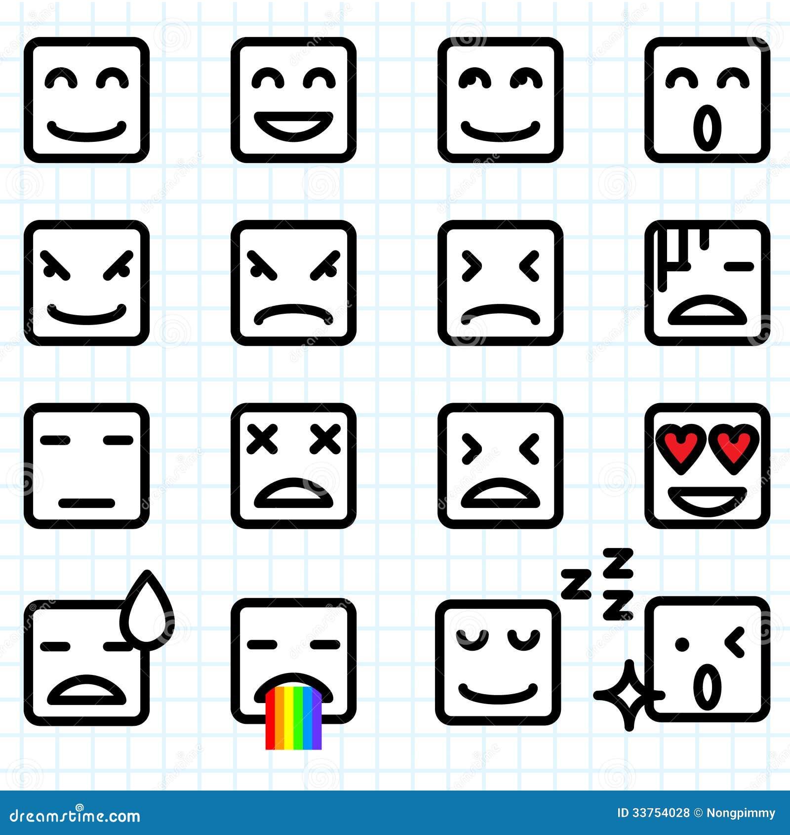 Square Face Emoticons Illustration Set Emoticon Icon