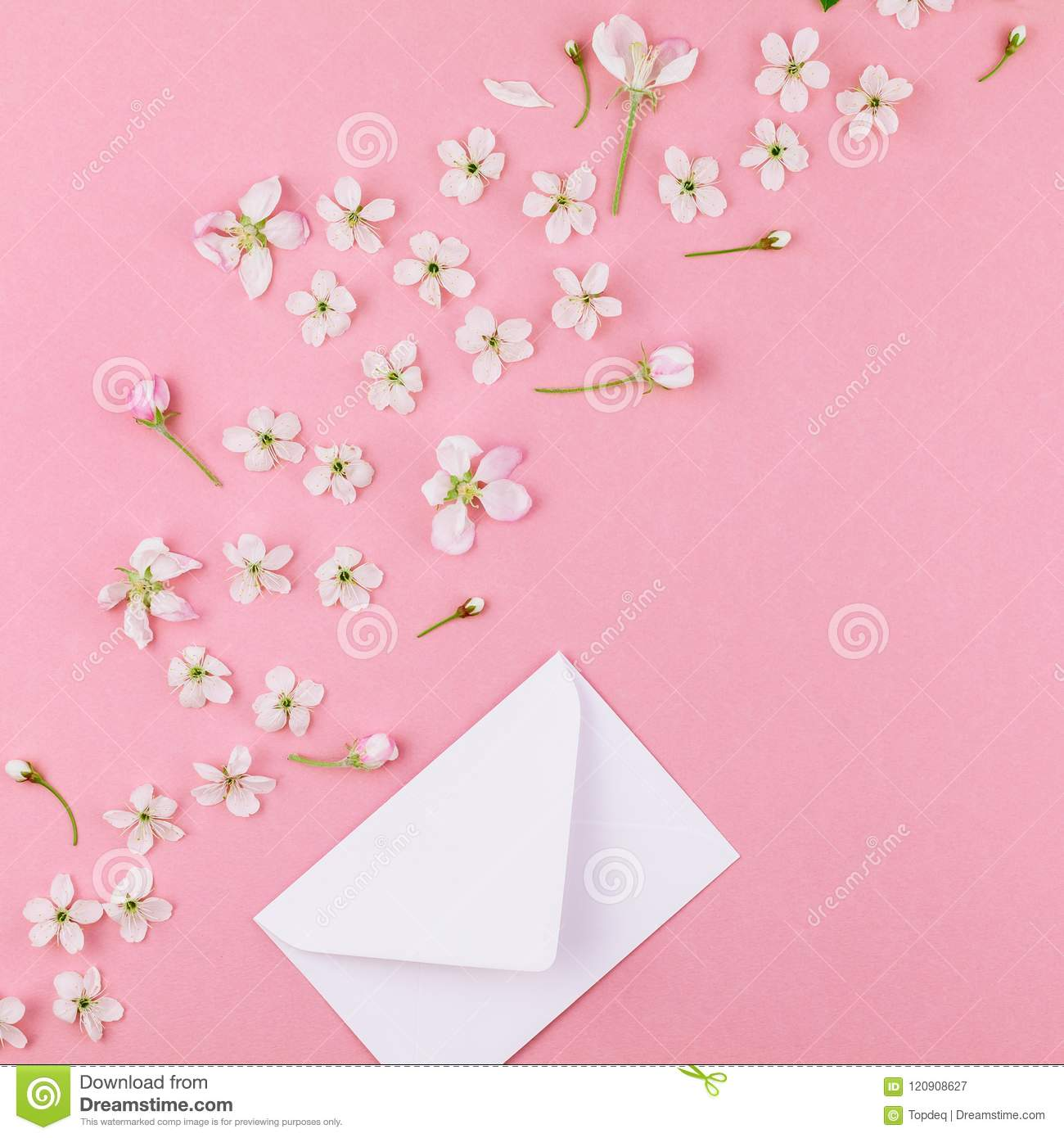 Concept Of Love Letter With Envelope And Flowers Stock Image Image