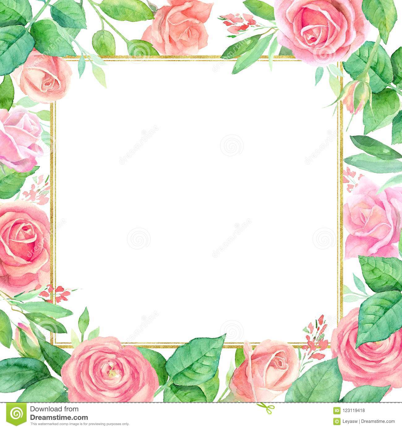 Square Floral Background With A Colorful Watercolor Flowers Frame