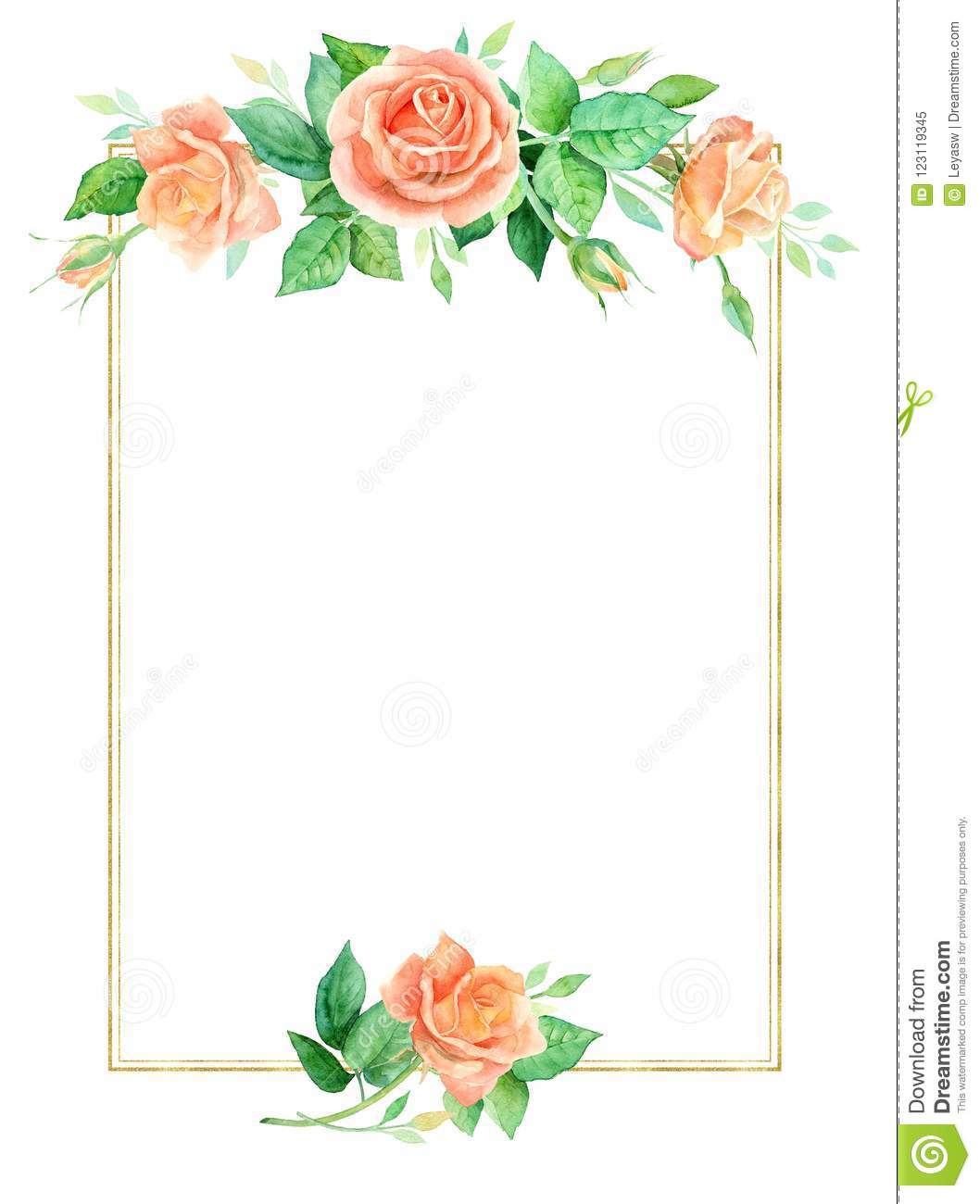 graphic relating to Watercolor Floral Border Paper Printable known as Sq. Floral Heritage With A Vibrant Watercolor Bouquets