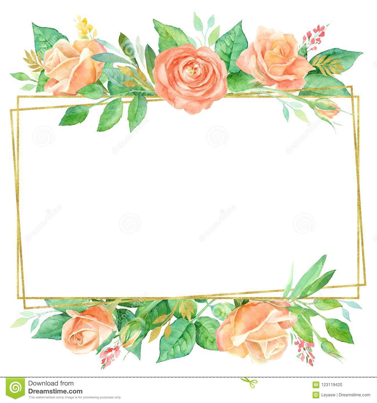 Square Floral Background With A Colorful Watercolor Flowers