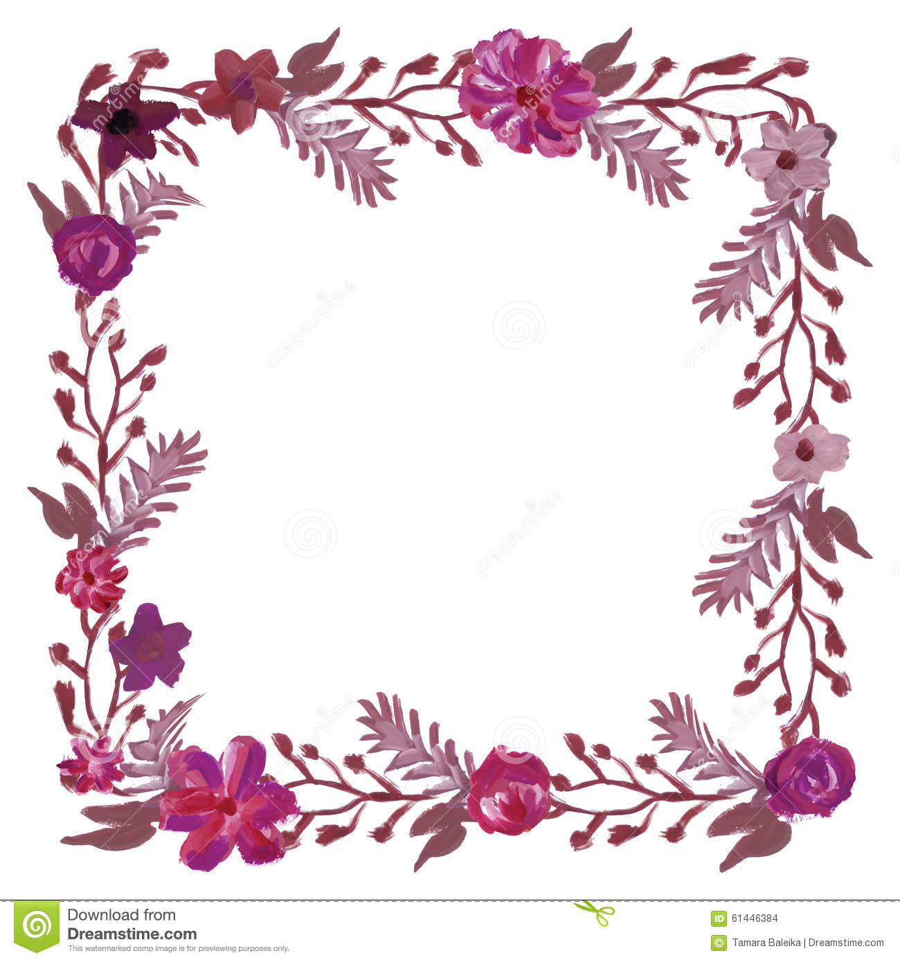 Square Floral Frame. Stock Vector - Image: 61446384