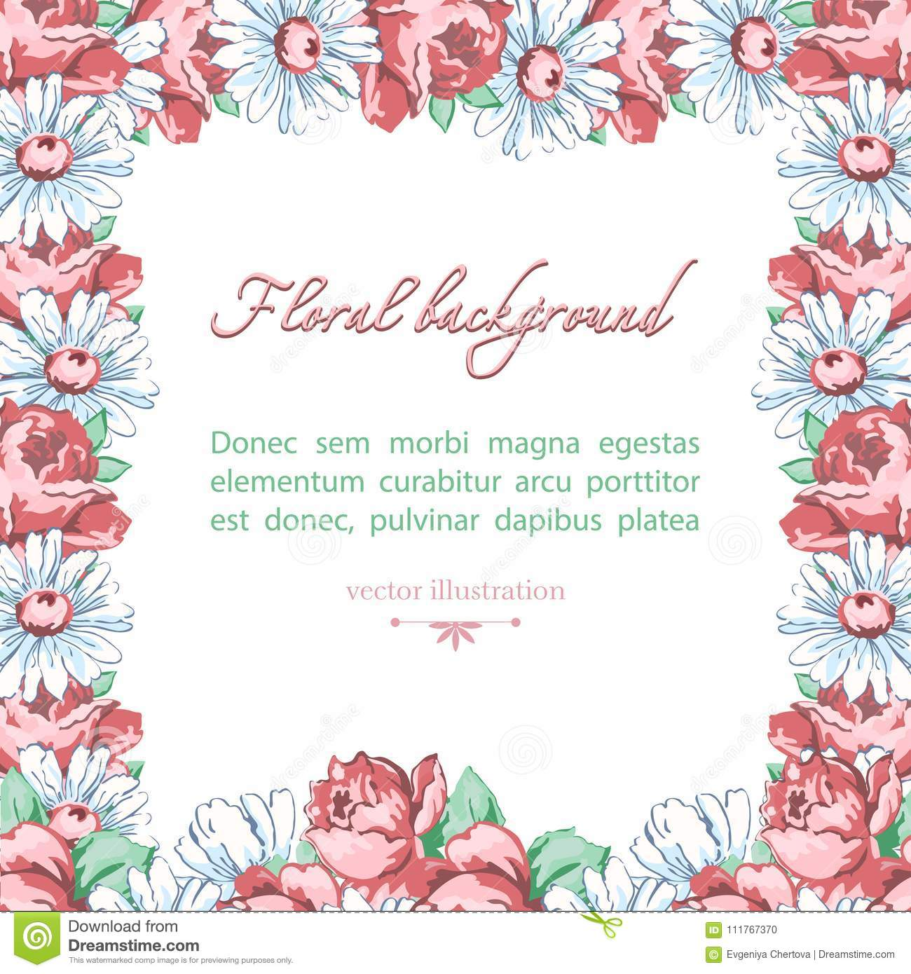 Square Flower Frame Of Chamomile And Rose Flower Vector Floral