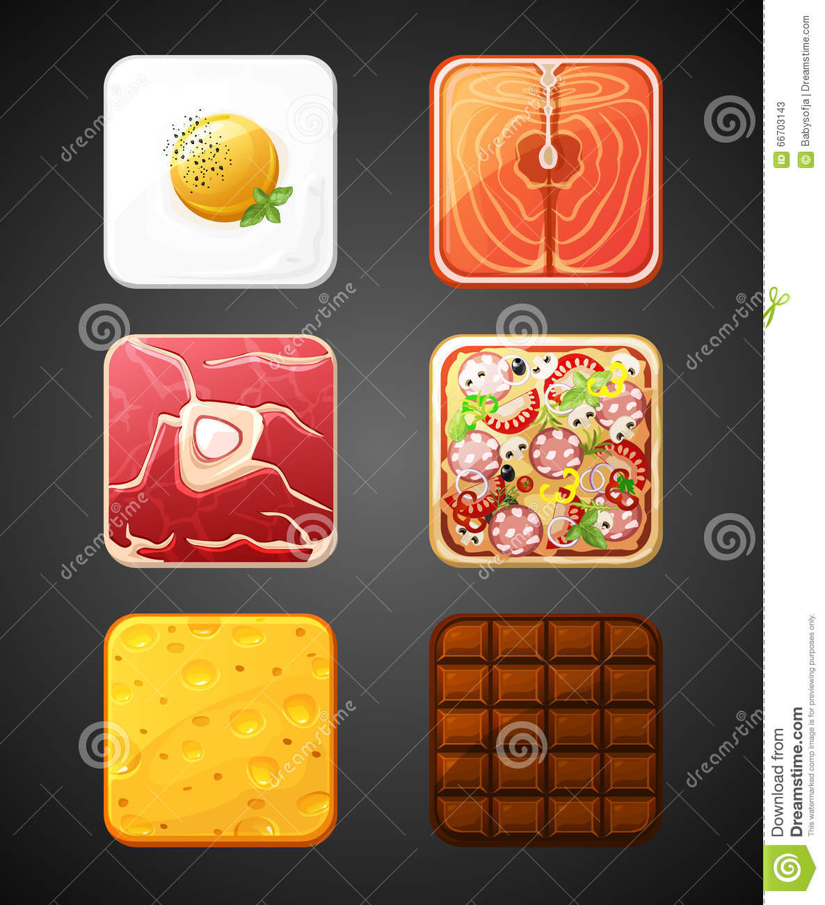 Square food icons stock vector  Illustration of steak - 66703143