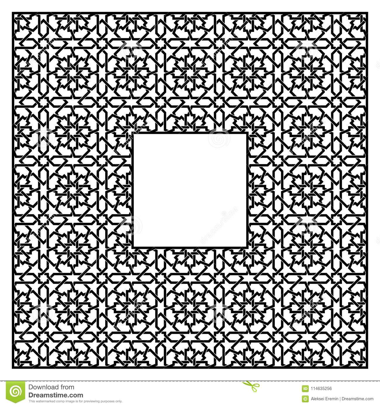 Square Frame Of The Arabic Pattern Of Three By Three Blocks Stock