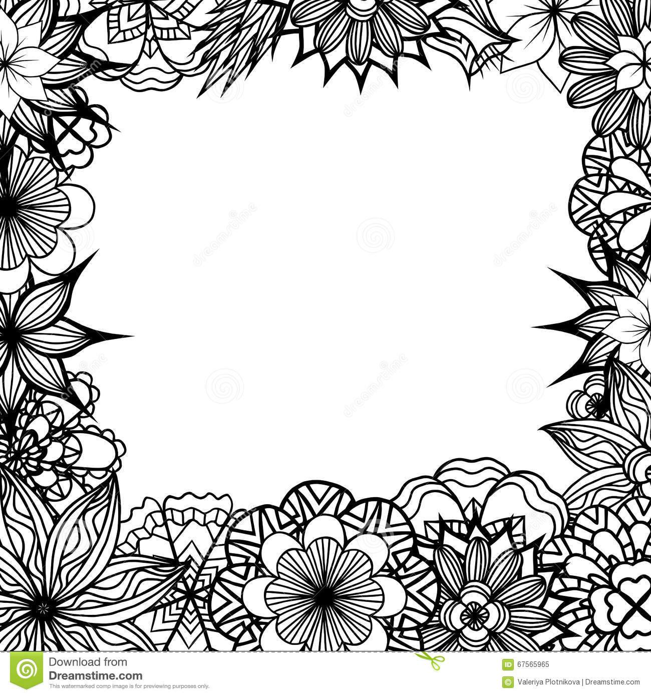 Square Frame With Black And White Doodle Flowers Stock Vector