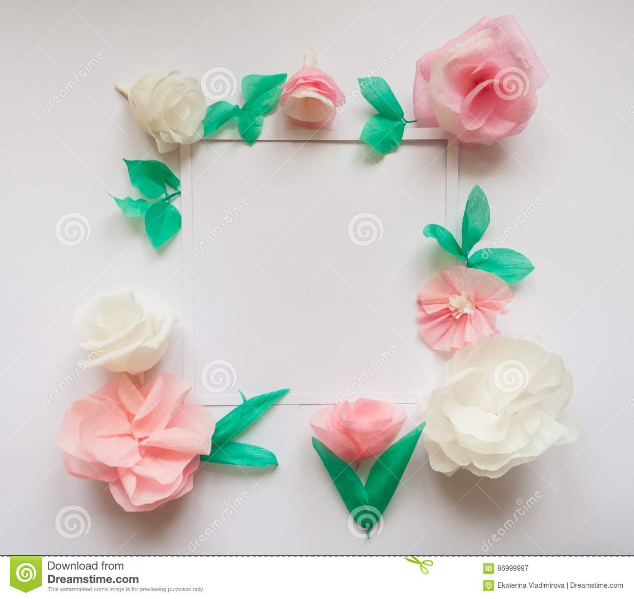 Square Frame With Color Paper Flowers Flat Lay Nature Concept