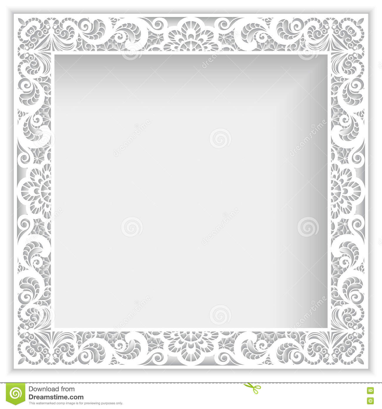 Square Frame With Cutout Paper Lace Border Stock Vector ...