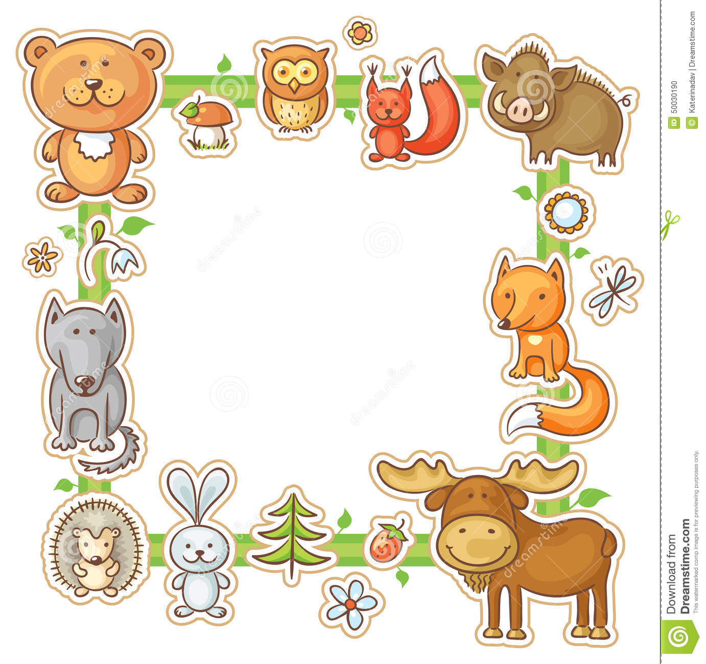 Square Frame With Forest Animals Stock Vector