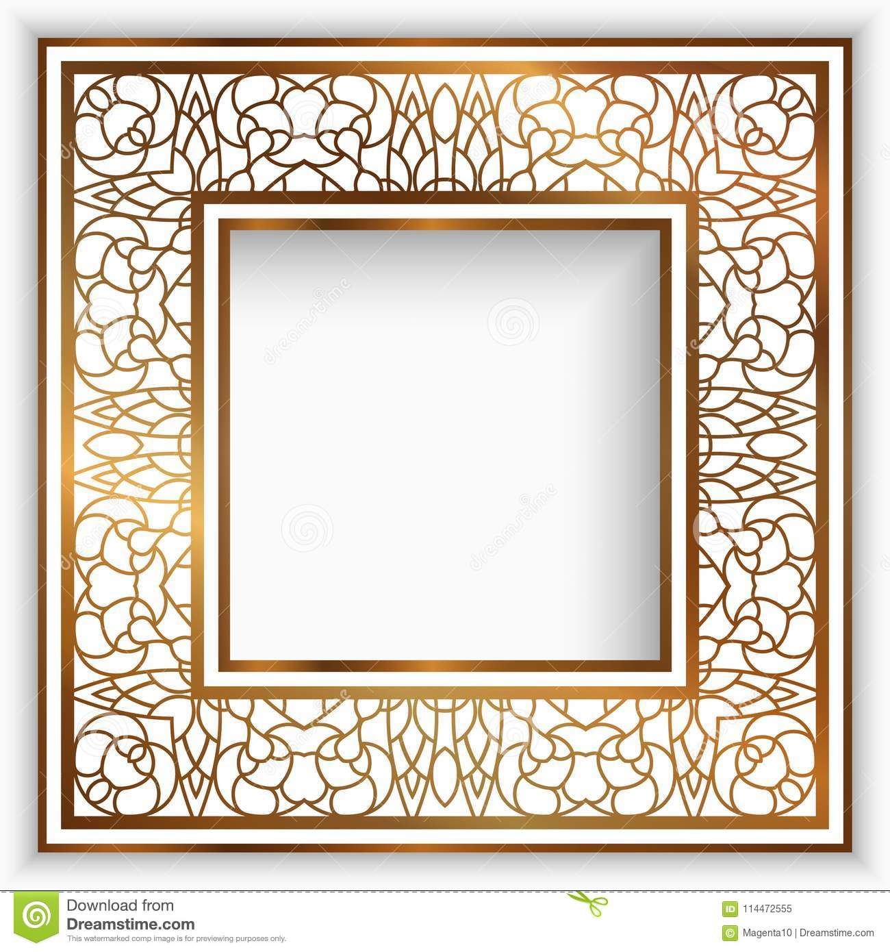 Square Frame With Gold Border Stock Vector - Illustration of