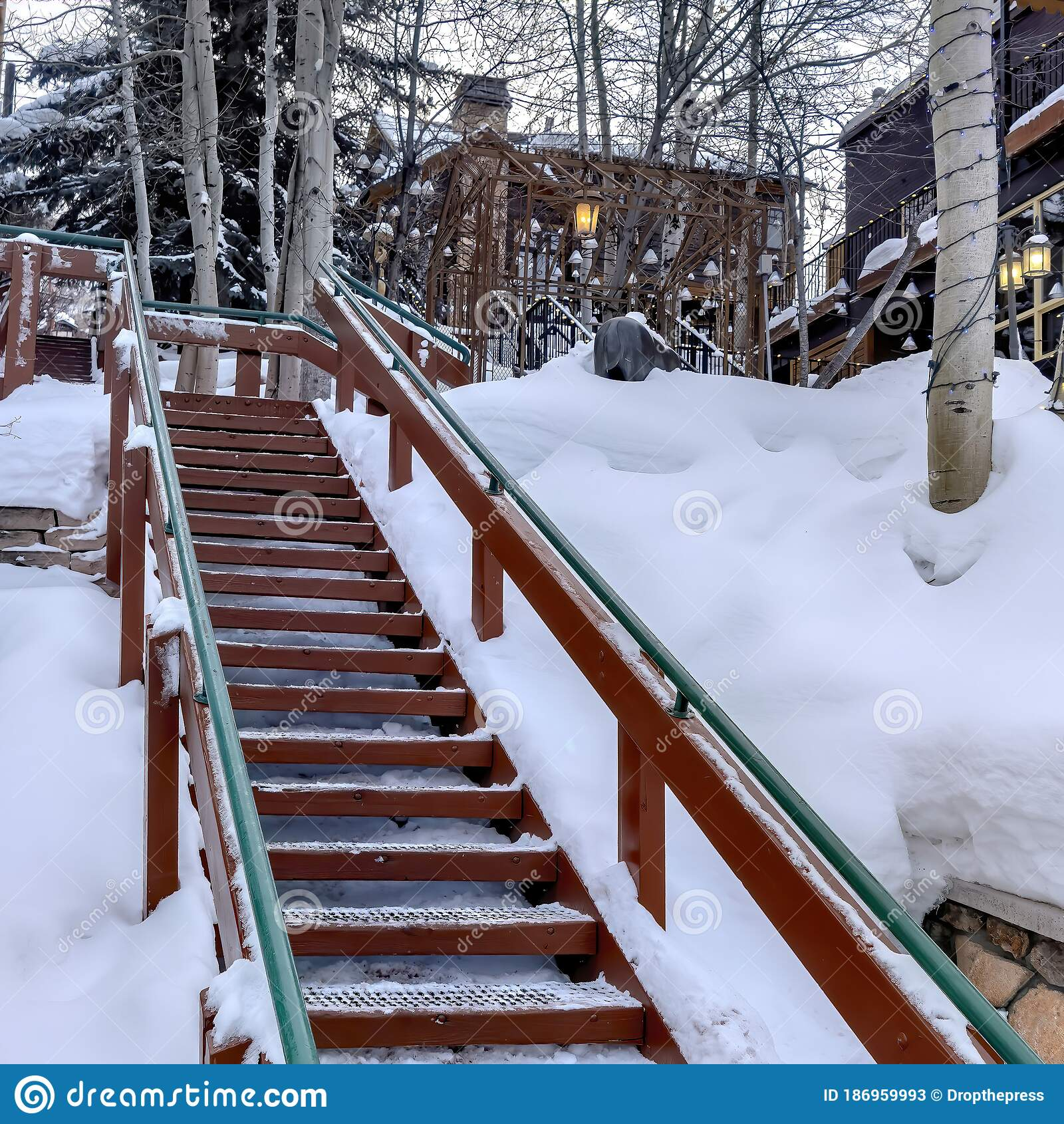 Image of: Square Frame Outdoor Stairs On Snowy Slope Against Buildings And Trees On Cloudy Winter Day Stock Image Image Of Cloudy Building 186959993
