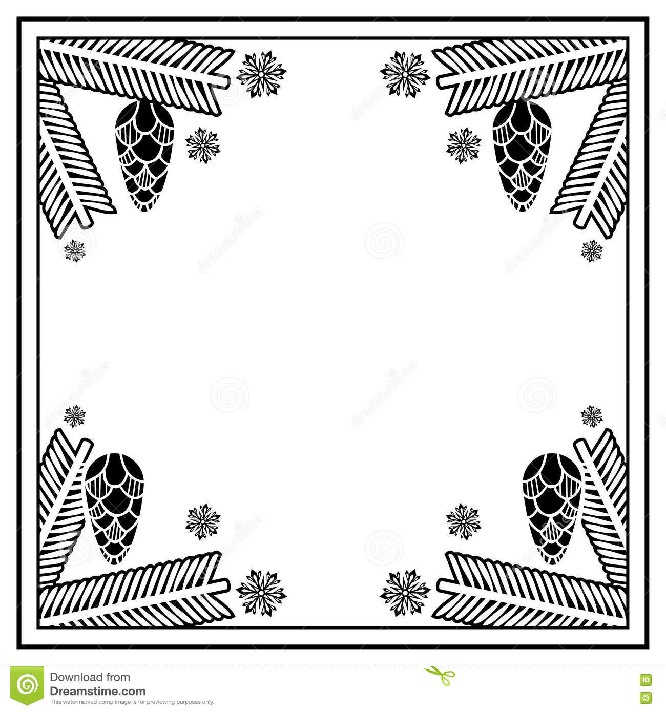 e44b7132be7 Square frame with pine cones silhouettes. Copy space. Christmas design  decor element. Raster clip art.