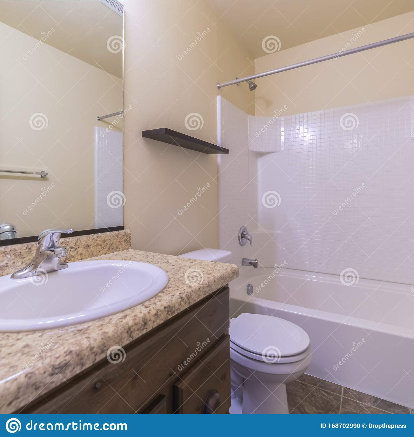 Square Frame Small Modern Bathroom Interior With Marble Vanity