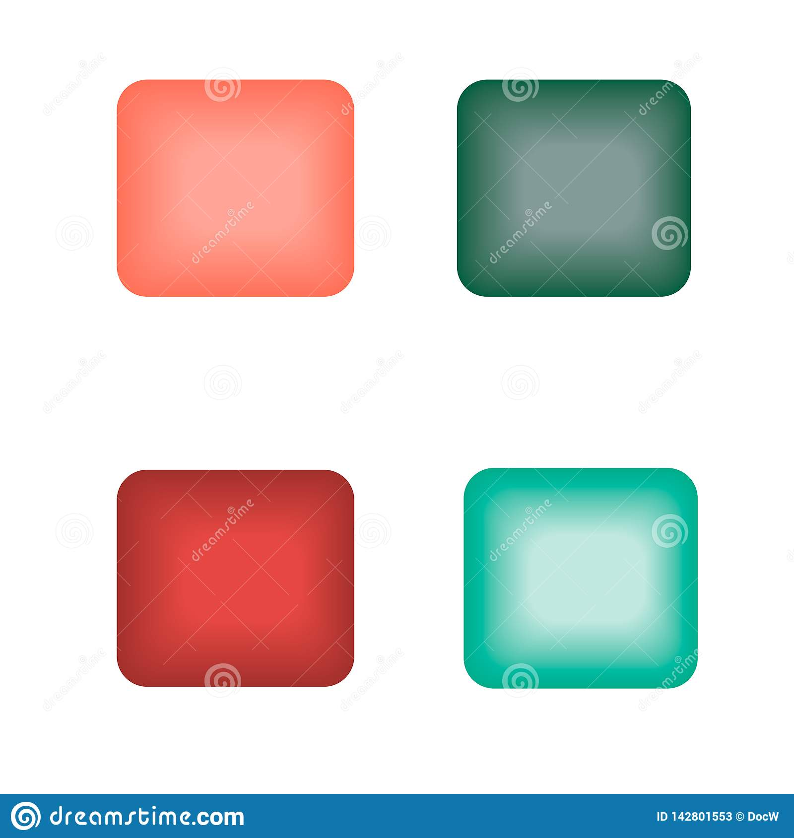 Square glowing buttons of different colors
