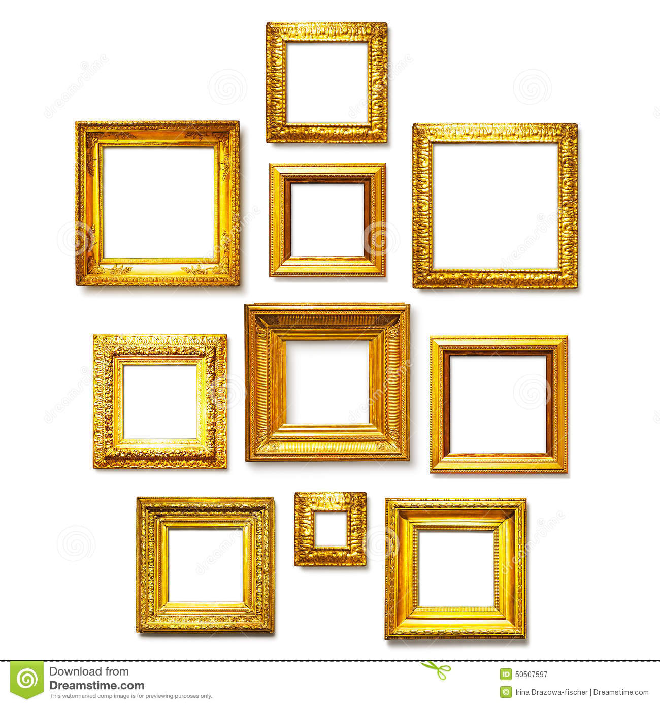 square gold frames
