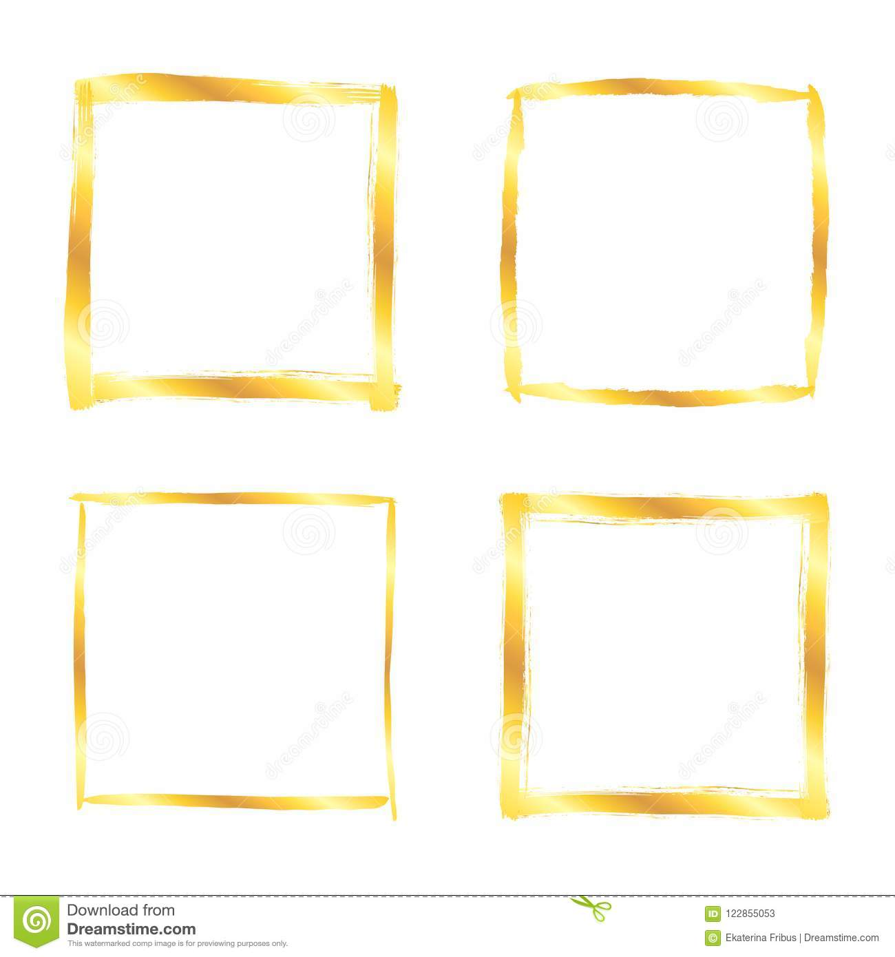 Square Golden Paint Strokes Frames Over White Stock Vector ...