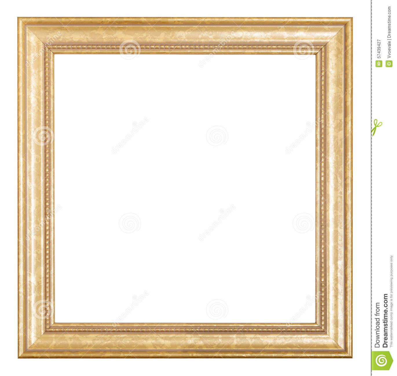 Square Golden Wooden Picture Frame Stock Photo Image