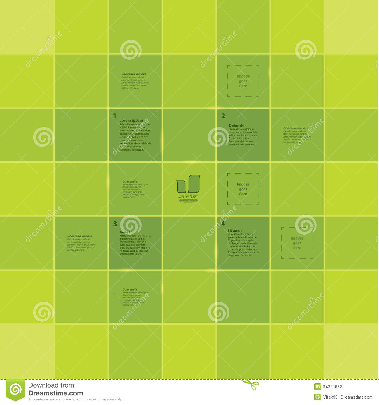 square grid template colorfully template with four primary step