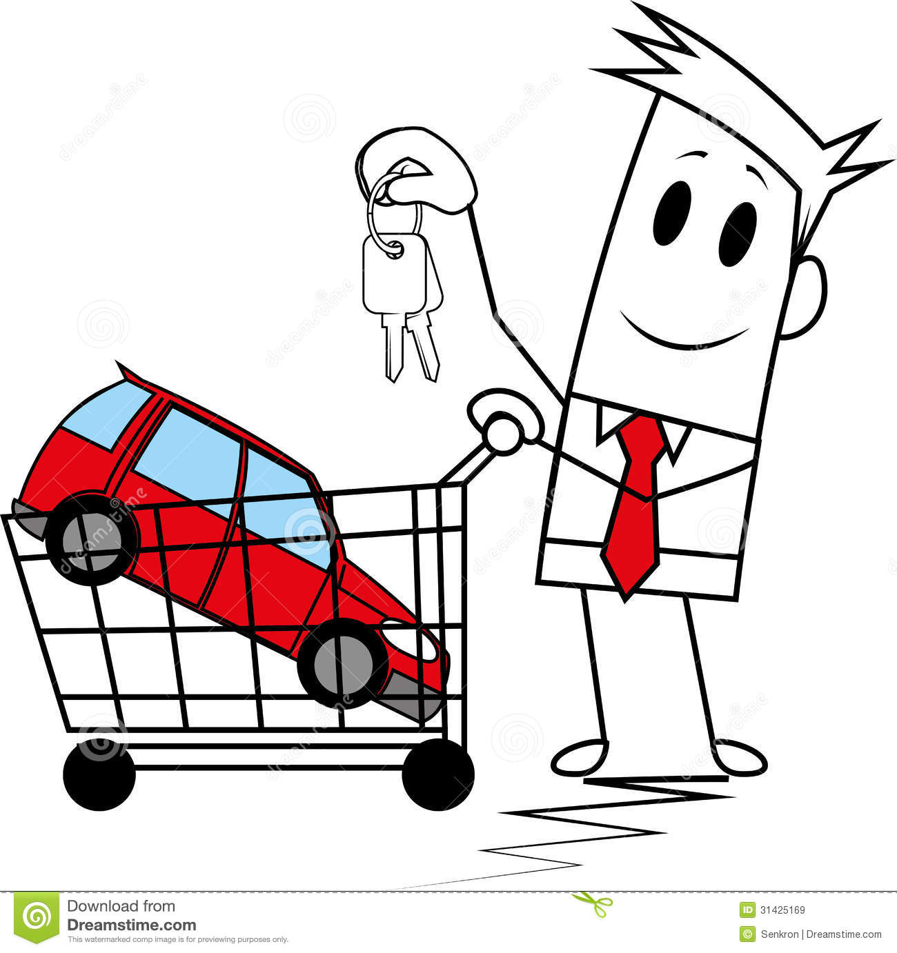 Square Guy Buying A Car Stock Vector. Image Of Sell, Sale