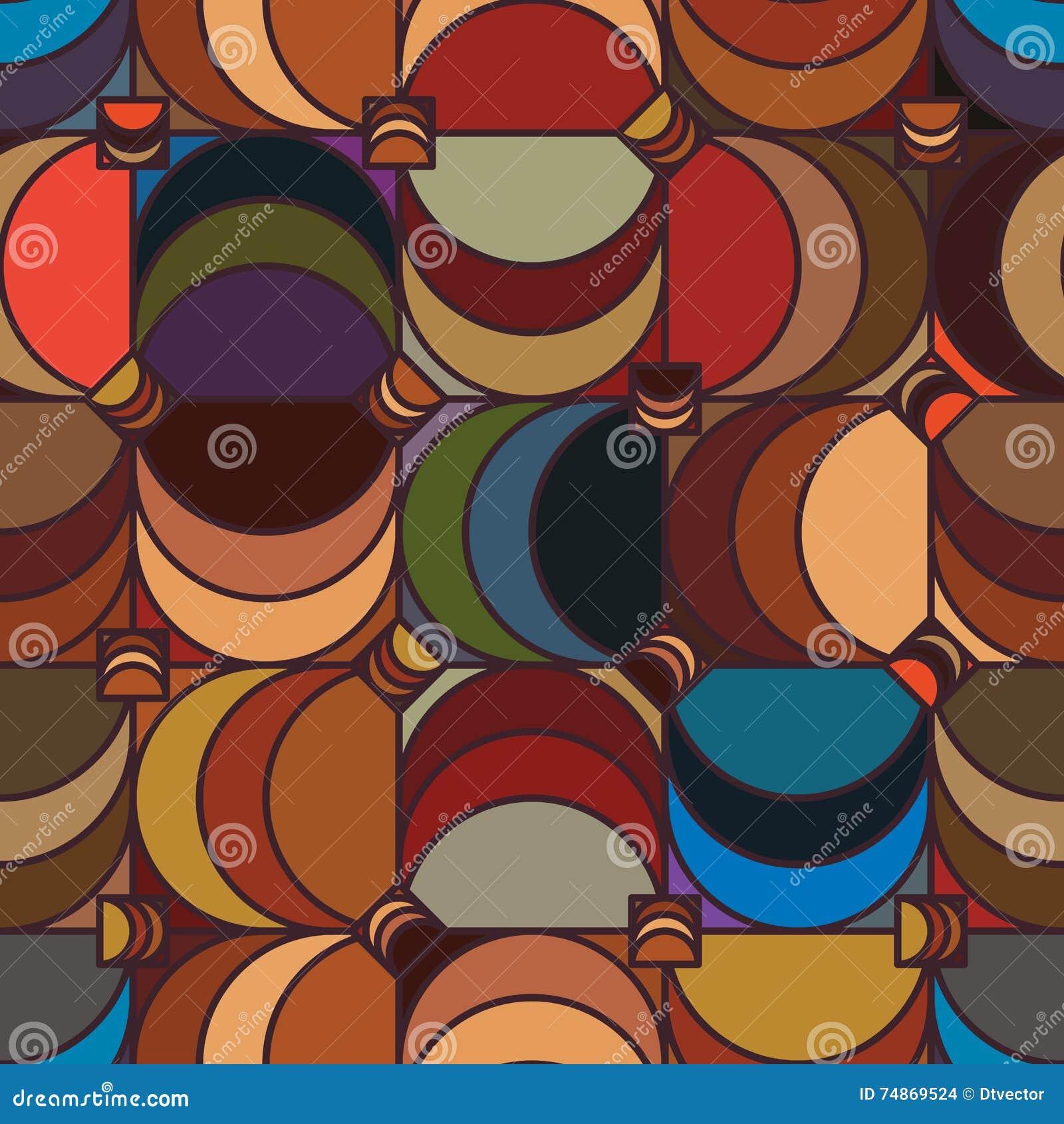 Square half moon vintage seamless pattern