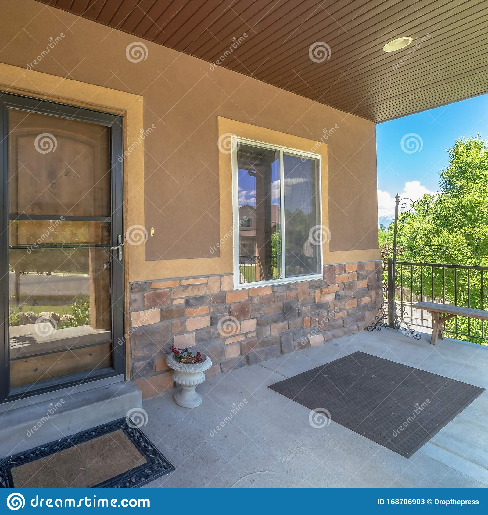 Square Home Exterior View With Porch And Glass Door In Front Of The Brown Front Door Stock Image Image Of Brown Window 168706903