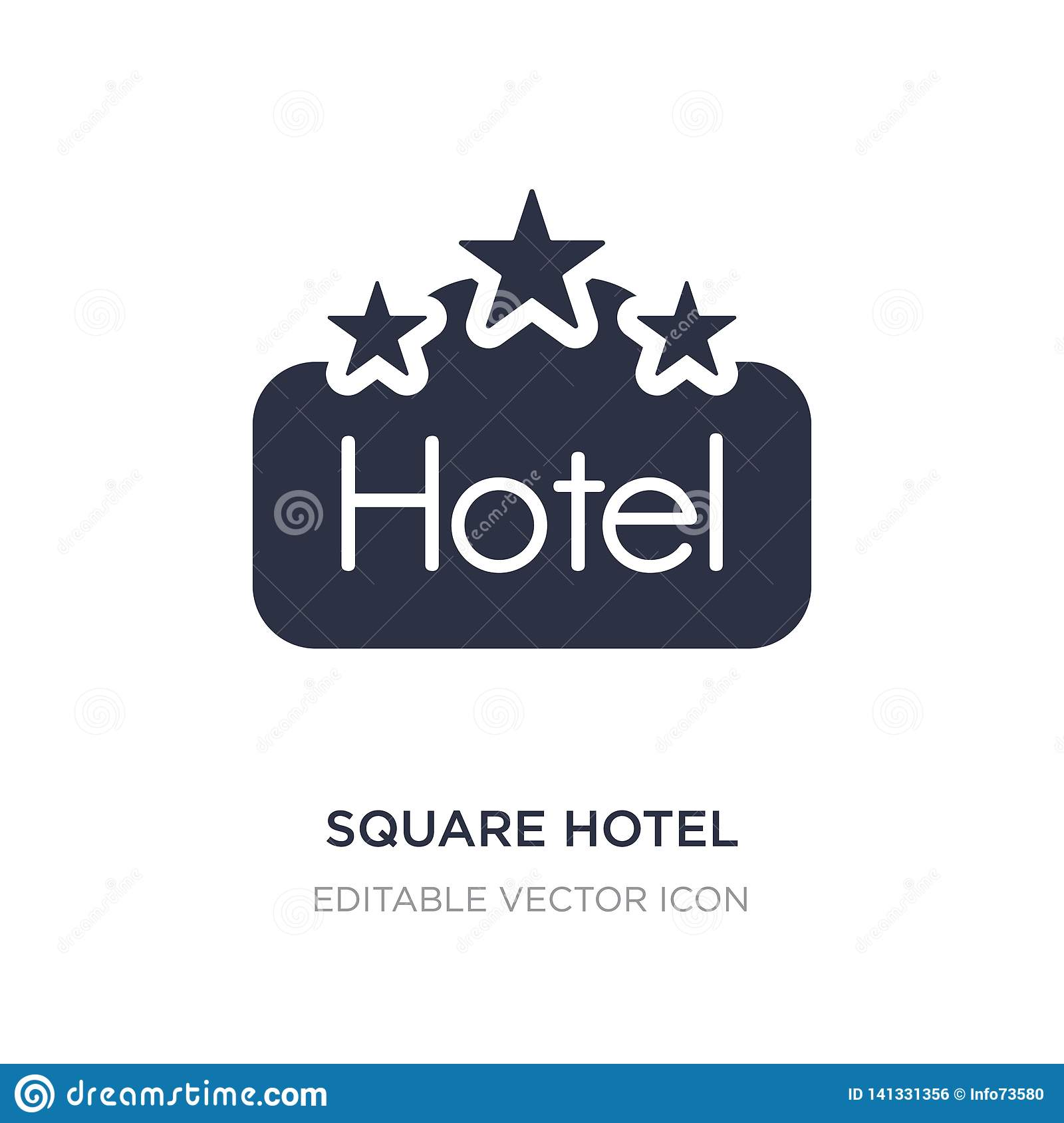 square hotel icon on white background. Simple element illustration from Signs concept