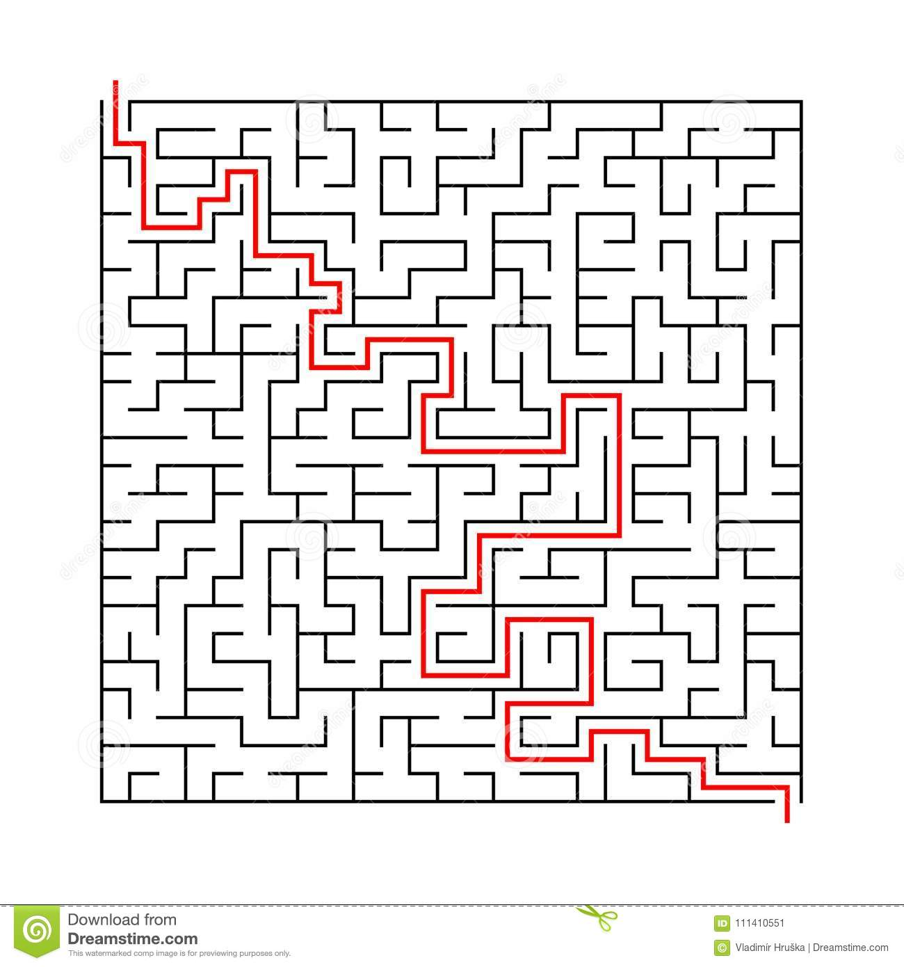 Square Labyrinth With Entry And Exit Vector Game Maze Puzzle With